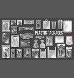 plastic packages transparent wrap set vector image
