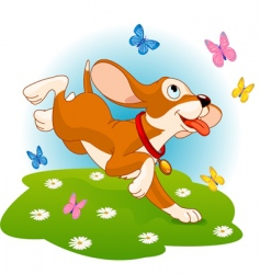 puppy and butterflies vector image