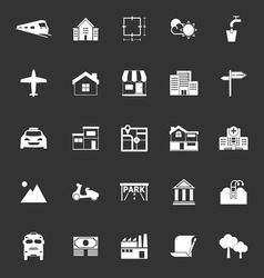 Real estate icons on gray background vector