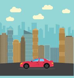 red sports car in the city vector image