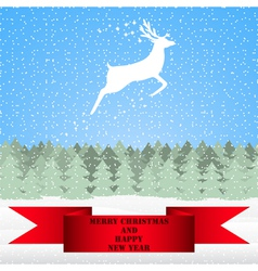 Reindeer in the Christmas forest vector