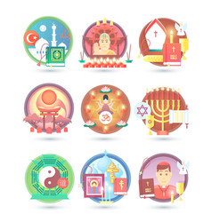 Religion and confession icons flat colorful vector