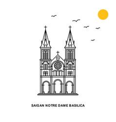 Saigan notre dame basilica monument world travel vector