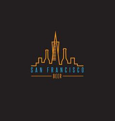 san francisco skyline with beer bottles design vector image