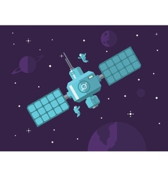 Satellite with Astronauts in Outer Space vector image