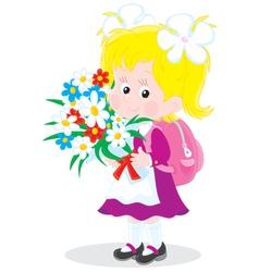 Schoolgirl with flowers vector