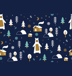 Seamless background with winter forest bear vector
