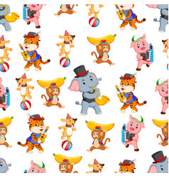 seamless pattern with animal playing instrument vector image