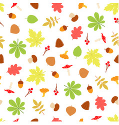 Seamless pattern with fall season objects vector