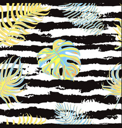 seamless pattern with tropical leaves on black and vector image