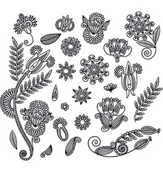 Set of hand draw black flower design vector
