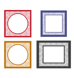 Set of retro blank picture frame template vector