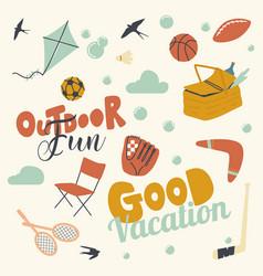 Set outdoor activity and fun good vacation kite vector