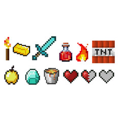 Set pixel objects potion bottles fire vector