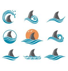 shark fin icon set vector image