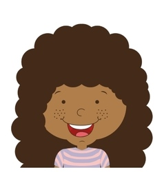 silhouette half body girl smiling with curly hair vector image