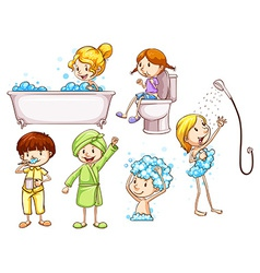 Simple coloured sketches of people taking a bath vector image
