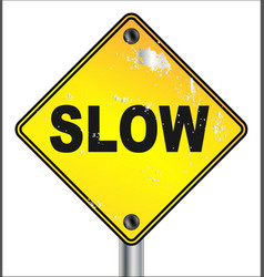 Slow yellow traffic sign vector