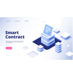 smart contract concept digital signature document vector image