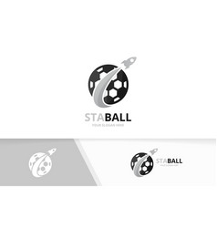 soccer and rocket logo combination ball vector image