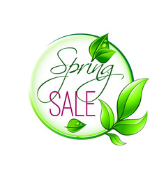 Spring time sale green leaf icon vector