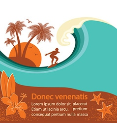 Surfer and sea wave tropical island vector image