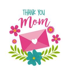 thank you mom message envelope floral decoration vector image
