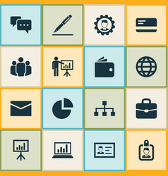 Trade icons set collection of billfold earth id vector