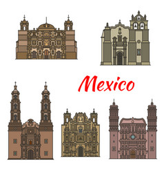 Travel landmark of mexican tousrist sights icon vector