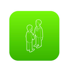 two businessmen shaking hands icon green vector image