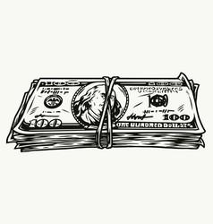 Vintage monochrome concept money bundle vector