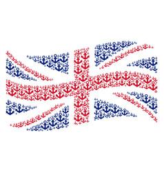 Waving british flag pattern of anchor icons vector