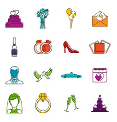 wedding icons doodle set vector image