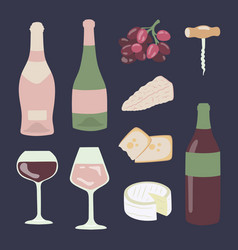 wine and cheese hand drawing set gourmet vector image