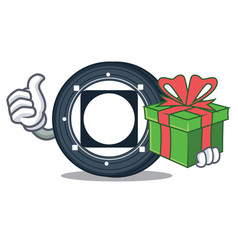With gift byteball bytes coin mascot cartoon vector