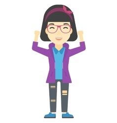 Woman with raised hands up vector image