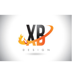 Xb x b letter logo with fire flames design vector