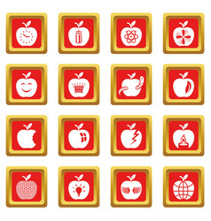 apple logo icons set red square vector image