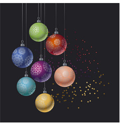 christmas colorful bauble on black background vector image