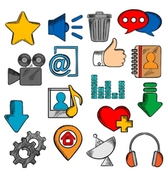 Colorful social media and web icons set vector image