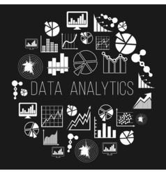 Datum analytics label or data informatics badge vector image