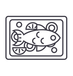 fried fish line icon sign on vector image vector image