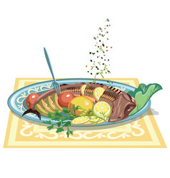 hand drawn festive fish dish template vector image vector image