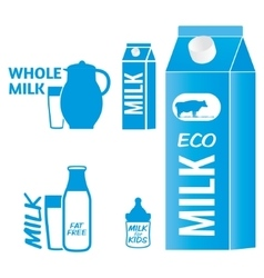 Milk logo and design elements for packaging vector image vector image