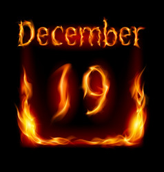 nineteenth december in calendar of fire icon on vector image vector image