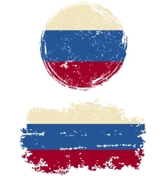 Russian round and square grunge flags vector image vector image