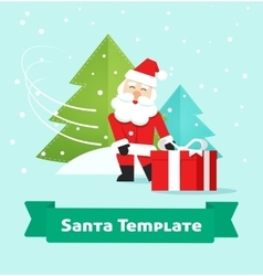 Santa Claus with gift Merry Christmas New Year vector image vector image