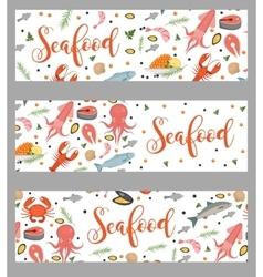 Sea food horizontal banner flat style Seafood vector image