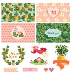 Tropical Floral Wedding Set vector image