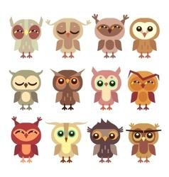 Funny cartoon owls set vector image